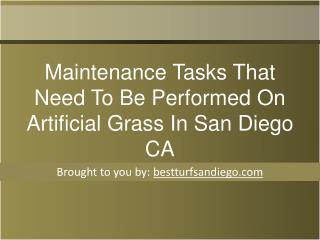 Maintenance Tasks That Need To Be Performed On Artificial Grass In San Diego CA