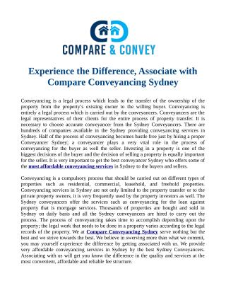 Experience the Difference, Associate with Compare Conveyanci