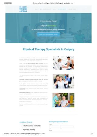 Get In Home Physiotherapy Treatment in Calgary