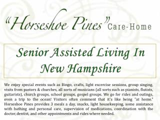 Senior Assisted Living In New Hampshire