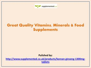 Great Quality Vitamins, Minerals & Food Supplements