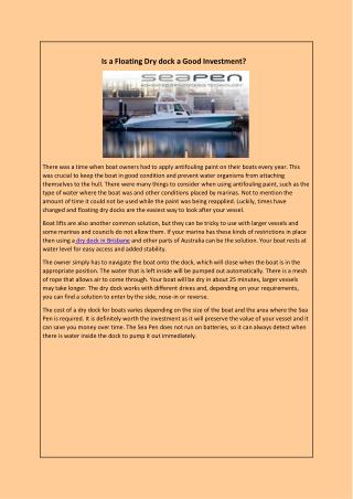 Is a Floating Dry dock a Good Investment?