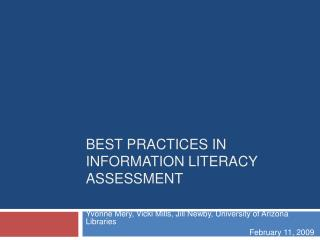 BEST PRACTICES IN INFORMATION LITERACY ASSESSMENT