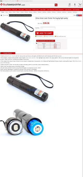50mw Green Laser Pointer Pen