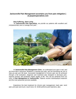 Jacksonville Pain Management ascertains you from pain mitigation | at jaxpainspecialists.com