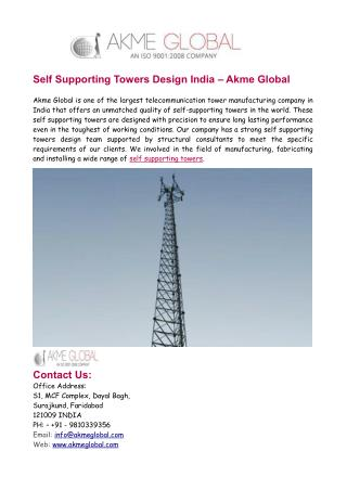 Self Supporting Towers Design India