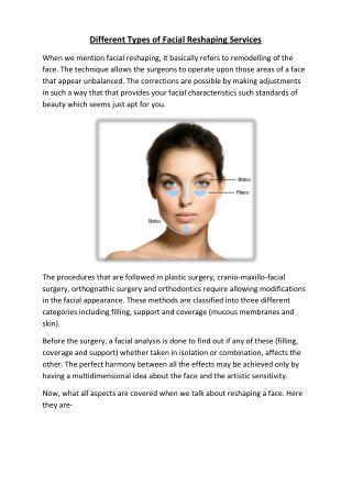 Different Types of Facial Reshaping Services