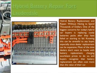 Hybrid Battery Replacement Fort Lauderdale