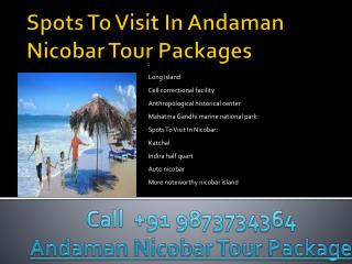 Spots to visit in andaman nicobar tour packages