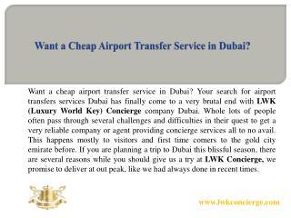 Want a Cheap Airport Transfer Service in Dubai?