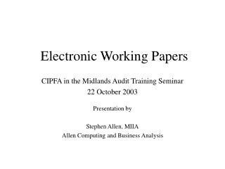 Electronic Working Papers