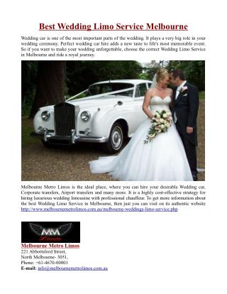 Best Wedding Limo Service in Melbourne