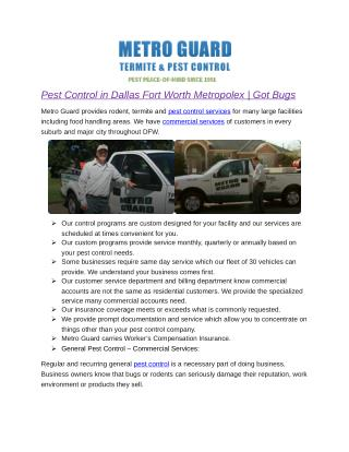 Pest Control in Dallas Fort Worth Metropolex | Got Bugs