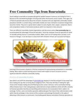 Free Commodity Tips for Bourseindia.com