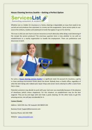 House Cleaning Services Seattle – Getting a Perfect Option