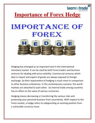 Importance of Forex Hedge - Learn To Trade