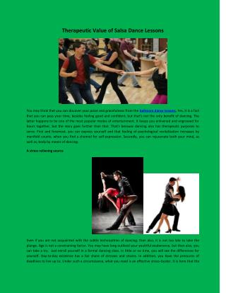 Therapeutic Value of Salsa Dance Lessons
