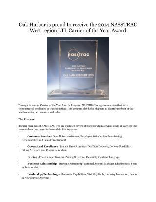 Oak Harbor is Proud to Receive Carrier of the Year Award