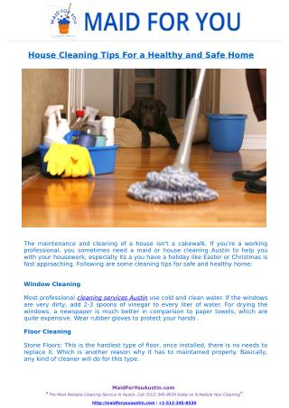 House Cleaning Tips For a Healthy and Safe Home