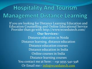 Hospitality and Tourism Management Distance Learning