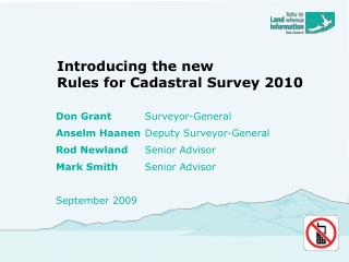 Introducing the new  Rules for Cadastral Survey 2010