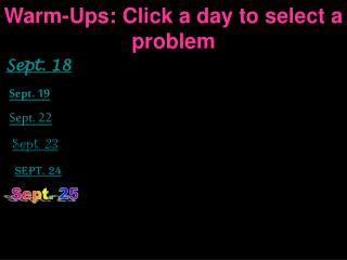Warm-Ups: Click a day to select a problem