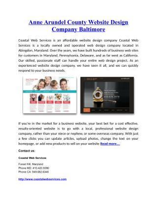 Anne Arundel County Website Design Company Baltimo