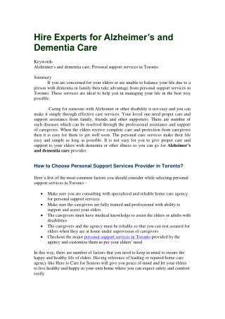 Hire Experts for Alzheimer's and Dementia Care
