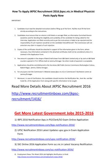 How to Apply JKPSC Recruitment 2016 Jkpsc.nic.in Medical Physicist Posts Apply Now