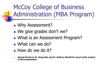 McCoy College of Business Administration MBA Program
