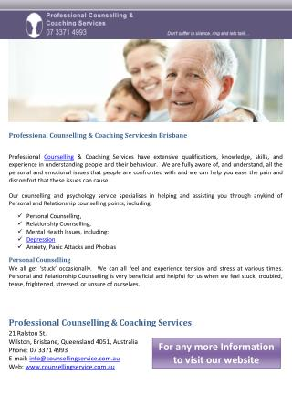 Professional Counselling & Coaching Servicesin Brisbane