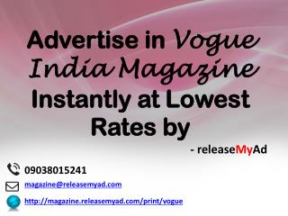 Advertising in Vogue India Magazine through releaseMyAd.