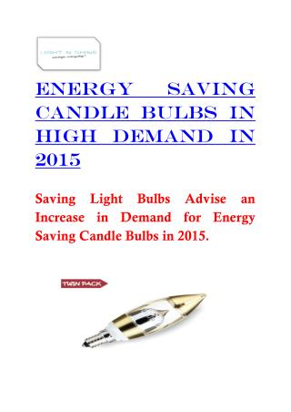 Energy Saving Candle Bulbs in High Demand in 2015
