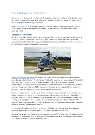 Private Helicopter Australia Charter