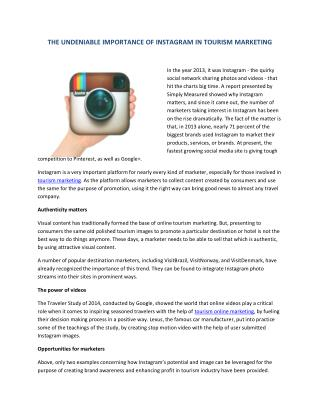 THE UNDENIABLE IMPORTANCE OF INSTAGRAM IN TOURISM MARKETING