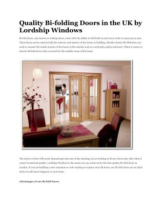 Quality Bi-folding Doors in the UK by Lordship Windows