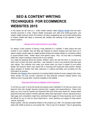 SEO CONTENT WRITING TECHNIQUES FOR ECOMMERCE WEBSITES 2015