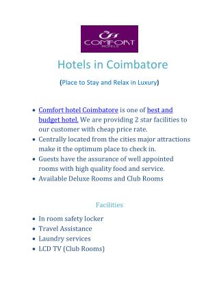 Hotels in Coimbatore
