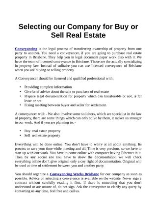 Selecting Our Company For Buy Or Sell Real Estate