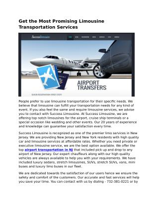 Airport Limo Services NJ