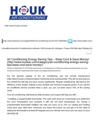 Air Conditioning Energy Saving Tips – Keep Cool and Save Money!