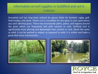 Information on turf supplies in Guildford and soil in Cobham