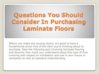 Questions You Should Consider In Purchasing Laminate Floors