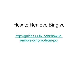 How to Remove Bing.vc
