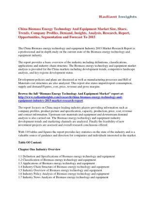 China Biomass energy technology and equipment Market Analysis, Growth, Trends and Forecast To 2015