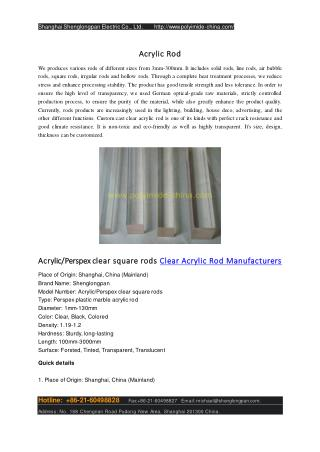 Acrylic/Perspex clear square rods Clear Acrylic Rod Manufacturers