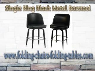 Single Ring Black Metal Barstool - Folding Chairs and Tables Larry