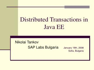 Distributed Transactions in Java EE