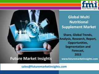 Future Market Insights: Multi Nutritional Supplement Market Value, Segments and Growth 2015-2025