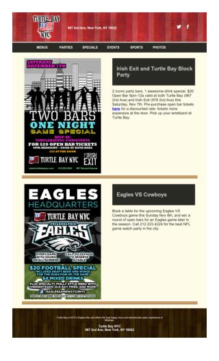Turtle Bay Block Party And Eagles Sports Events